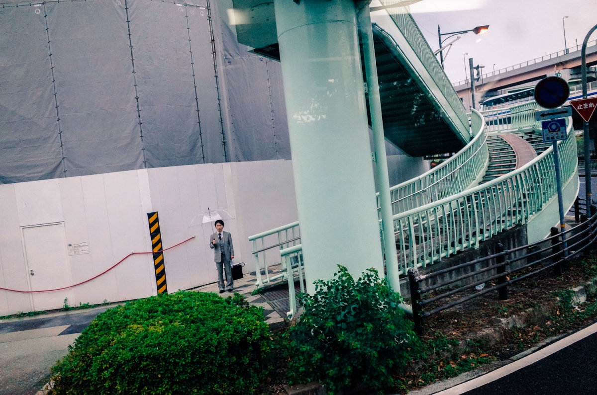 Man with umbrella, Kobe 9.11.13